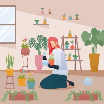 Floristería mujeres cuidando flor en la ilustración de jardinería doméstica
