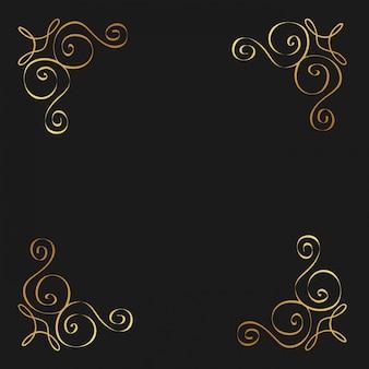 Florituras doradas caligráficas ornamento decorativo diseño elemento remolino