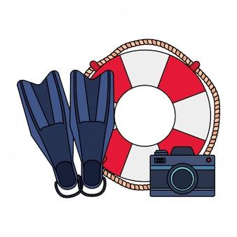 Flotador marino con cámara y aletas de buceo.