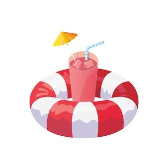 Flotador salvavidas y coctel de verano
