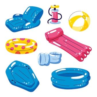 Flotadores inflables lindos, elementos de diseño aislado vector