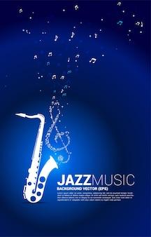 Flujo de baile de nota de melodía de música de vector de saxofón. concepto de fondo para la canción de jazz y el tema del concierto.