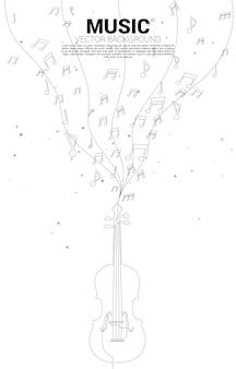 Flujo de baile de nota de melodía de música de vector con violín de una línea. fondo del concepto de tema clásico de canción y concierto.