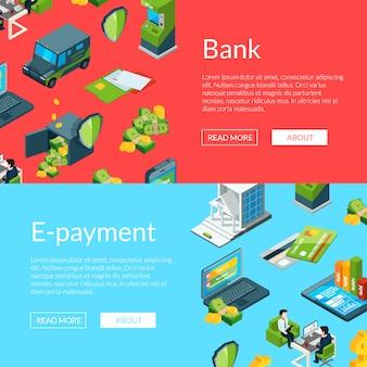 Flujo de dinero en los iconos del banco