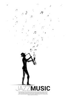 Flujo de nota de melodía de música de vector con hombre y saxofón. concepto de fondo para la canción de jazz y el tema del concierto.
