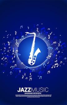 Flujo de nota de melodía musical con saxofón. banner para tema de canción de jazz y concierto.