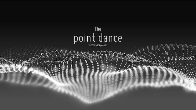 Flujo de onda de partículas abstractas, fondo futurista y tecnológico