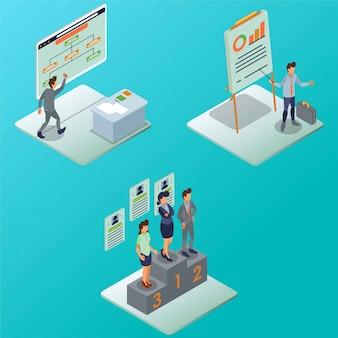Flujo de personal de marketing proceso de negocio ilustración isométrica