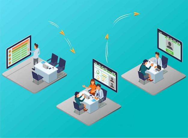 Un flujo de proceso de reclutamiento de empleados por un administrador de recursos humanos ilustración isométrica
