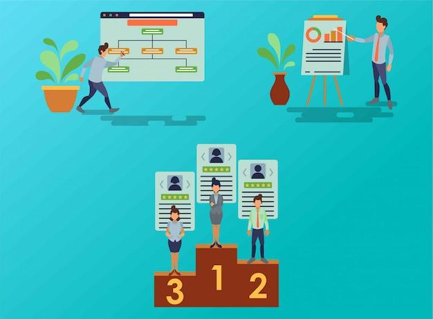 El flujo del proceso de trabajo del personal de marketing.
