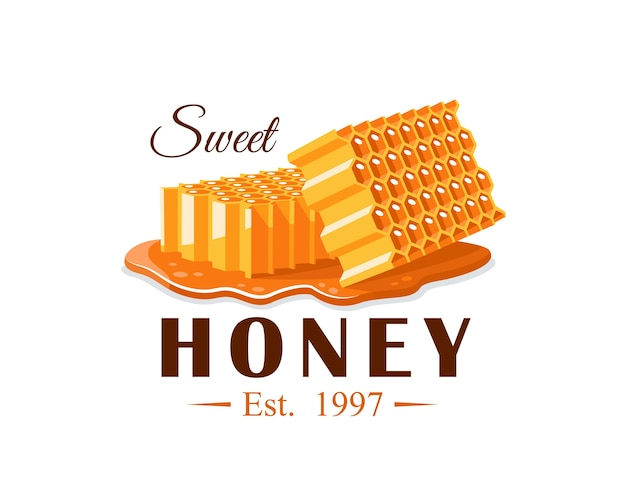 Flujos de miel con panal sobre fondo blanco. etiqueta de miel, logotipo, concepto de emblema. ilustración