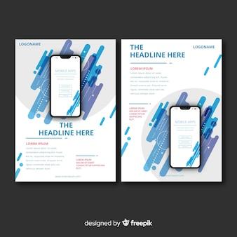 Flyer abstracto aplicación móvil