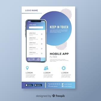 Flyer abstracto app móvil