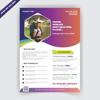 Flyer agencia de viajes de negocios de colores