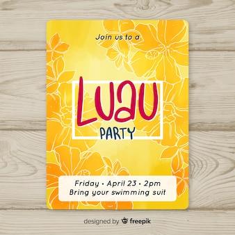 Flyer amarillo de fiesta luau