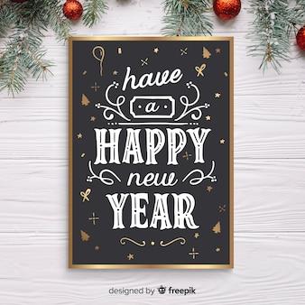 Flyer de año nuevo dibujado a mano