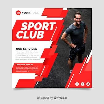 Flyer del club deportivo con foto