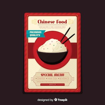 Flyer comida china bol de arroz