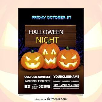 Flyer de concurso de disfraces en la noche de halloween