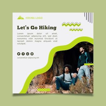 Flyer cuadrado de aventura de senderismo