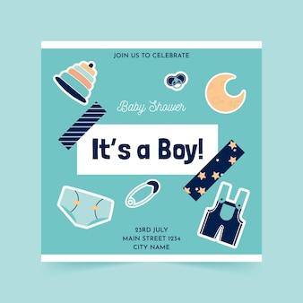 Flyer cuadrado de baby shower plano