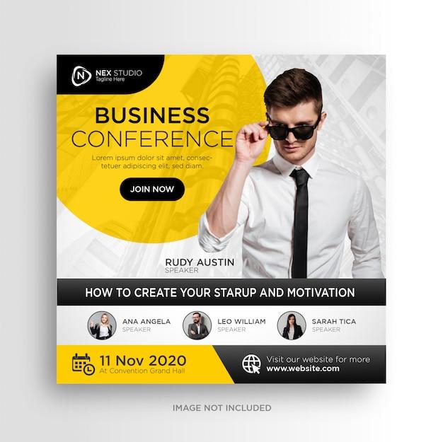 Flyer cuadrado de banner de redes sociales de conferencia de negocios