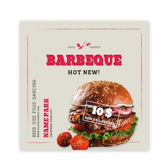Flyer cuadrado de barbacoa con hamburguesa