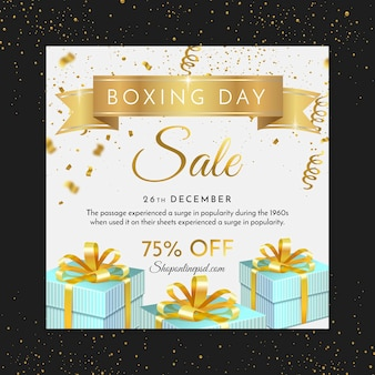 Flyer cuadrado de boxing day con regalos