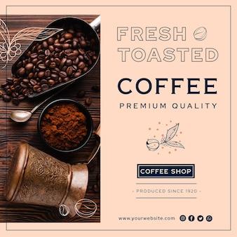 Flyer cuadrado de café de primera calidad