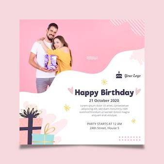 Flyer cuadrado para celebración de cumpleaños