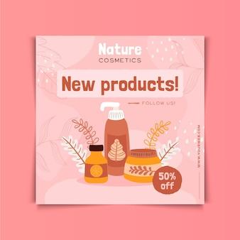 Flyer cuadrado de cosméticos naturales nuevos productos.