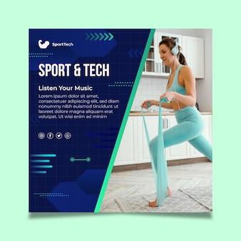 Flyer cuadrado deportivo y tecnológico.