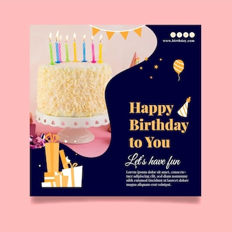 Flyer cuadrado feliz cumpleaños delicioso pastel
