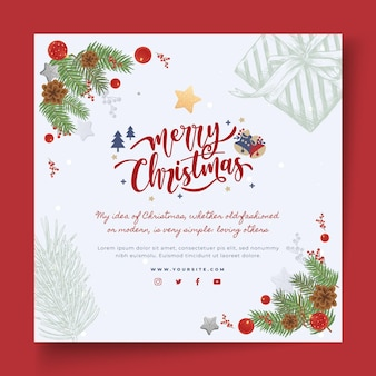 Flyer cuadrado feliz navidad y felices fiestas