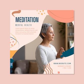 Flyer cuadrado de meditación y atención plena