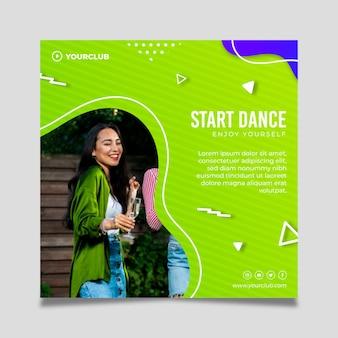 Flyer cuadrado de plantilla de fiesta de baile