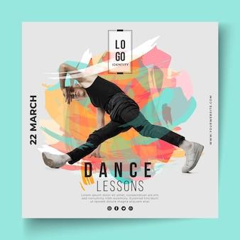 Flyer cuadrado de plantilla de lecciones de baile