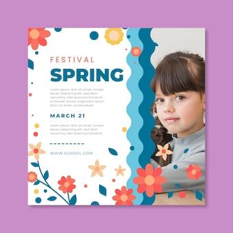 Flyer cuadrado para primavera con niños