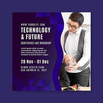 Flyer cuadrado de tecnología y negocios futuros.