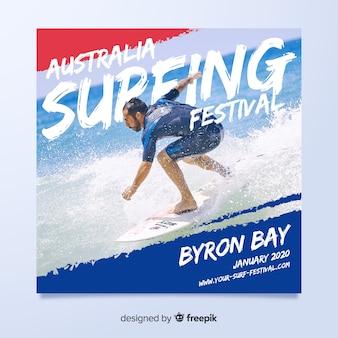 Flyer deportivo para festival de surf