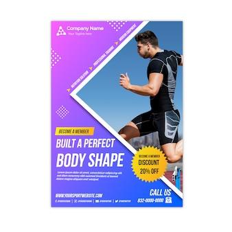 Flyer deportivo con forma de cuerpo perfecto con foto