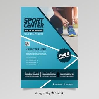 Flyer deportivo con plantilla de foto