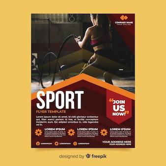 Flyer deportivo plantilla con imagen