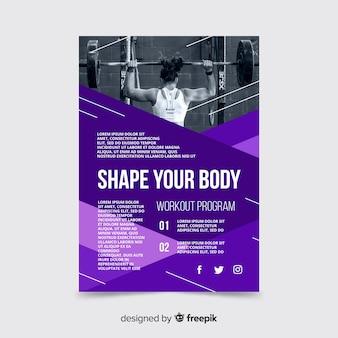 Flyer deportivo con plantilla de imagen