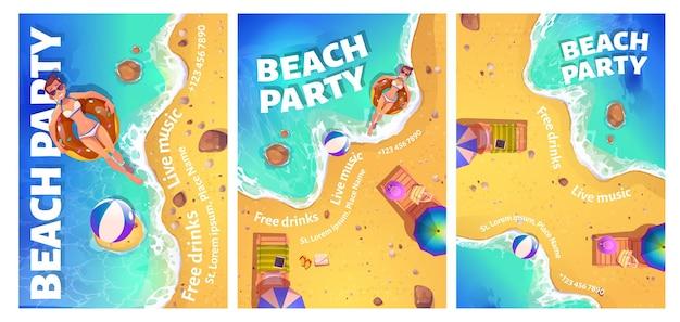 Flyer de dibujos animados de fiesta en la playa con mujer en el océano
