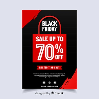 Flyer de diseño plano viernes negro