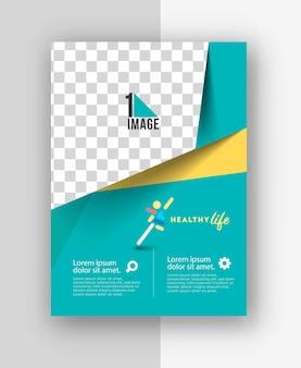 Flyer empresarial con espacio de imagen y logo.