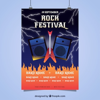 Flyer para festival de rock