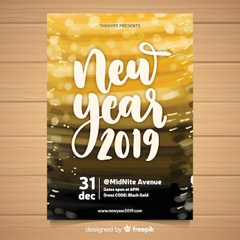 Flyer de fiesta de año nuevo 2019 de acuarela