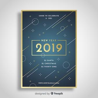 Flyer de fiesta de año nuevo 2019 geométrico